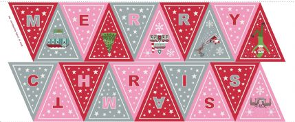 Lewis & Irene - Christmas Glow - 6716 -  Bunting Panel, Pink & Red - C52.2 - Cotton Fabric